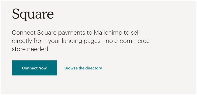 Sell directly on your landing pages using MailChimp